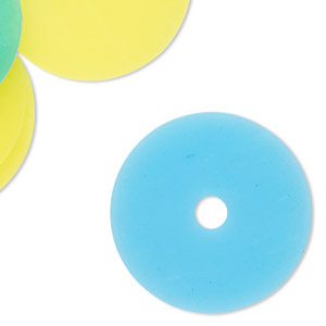 component mix, acrylic, translucent neon blue and neon yellow, 29mm round donut and flat round. sold per pkg of 12.