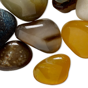 component mix, agate (dyed), mixed colors, medium to extra-large hand-cut undrilled nugget, mohs hardness 6-1/2 to 7. sold per 1-pound pkg, approximately 30-40 components.