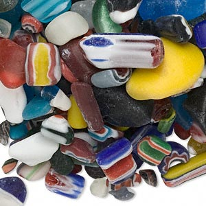component mix, cane and millefiori glass, mixed colors, mini to extra-large undrilled nugget. sold per 1-pound pkg, approximately 65-200 components.
