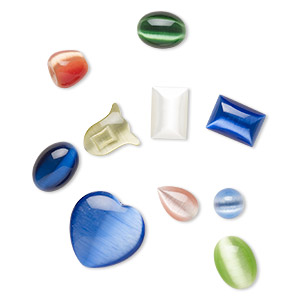 component mix, cats eye glass, mixed colors, 2-31mm mixed shapes. sold per pkg of 10.