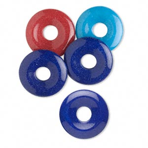 component mix, mountain jade, (dyed / coated), blue / light blue / red, 23mm round donut, c grade, mohs hardness 3. sold per pkg of 5.