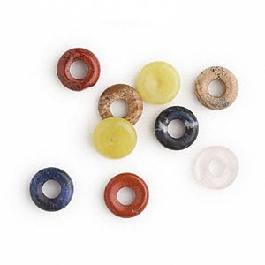 component mix, multi-gemstone (natural), 15mm round donut. sold per pkg of 10.