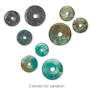 component mix, turquoise (dyed / stabilized), 15-35mm donut, c- grade, mohs hardness 5 to 6. sold per pkg of 3.