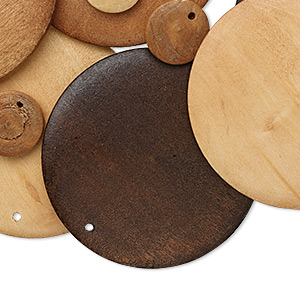 component mix, wood (natural / dyed), mixed colors, 15-60mm flat round. sold per pkg of 50.