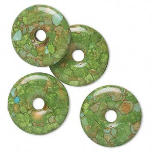 component, mosaic turquoise (dyed / assembled), green, 23mm round donut, mohs hardness 3-1/2 to 4. sold per pkg of 4.