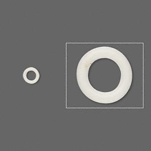 component, oh! ring™, rubber, antique white, 5mm round with 3mm hole. sold per pkg of 500.