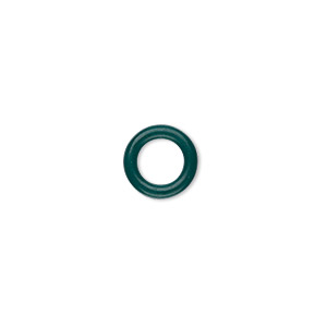 component, oh! ring™, rubber, dark green, 10mm round with 6mm hole. sold per pkg of 300.