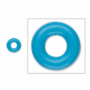 component, oh! ring™, rubber, light blue, 7mm round with 3mm hole. sold per pkg of 300.