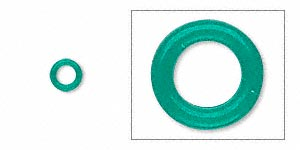component, oh! ring™, rubber, light green, 5mm round with 3mm hole. sold per pkg of 500.