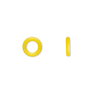 component, oh! ring™, silicone, daffodil yellow, 10mm round with 6mm hole. sold per pkg of 300.