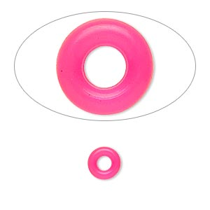 component, oh! ring™, silicone, neon pink, 7mm round with 3mm hole. sold per pkg of 300.
