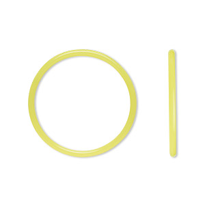 component, oh! ring™, silicone, neon yellow, 25mm round with 22mm hole. sold per pkg of 50.