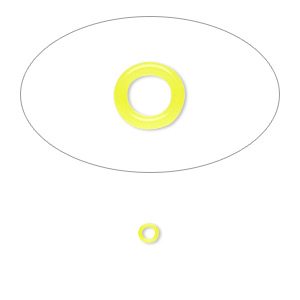 component, oh! ring™, silicone, neon yellow, 3mm round with 2mm hole. sold per pkg of 1,000.