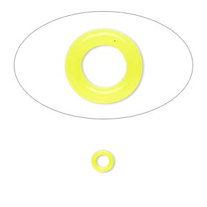 component, oh! ring™, silicone, neon yellow, 5mm round with 2.5mm hole. sold per pkg of 500.