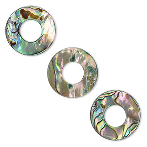 component, paua shell (natural), 20mm donut. sold per pkg of 2.
