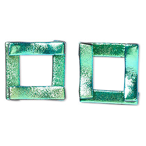 component, paula radke, dichroic glass, light green, 19-20mm open square. sold per pkg of 2.