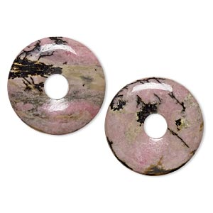 component, rhodonite (natural), 25mm round donut, b grade, mohs hardness 5-1/2 to 6-1/2. sold per pkg of 2.