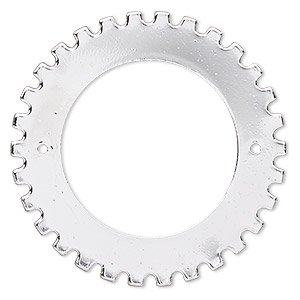 component, silver-finished steel, 40mm gear with 2 holes, 25.5mm center hole. sold per pkg of 6.
