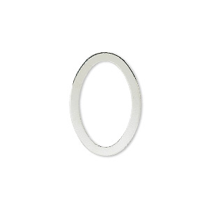 component, silver-plated brass, 22x15mm open oval. sold per pkg of 10.