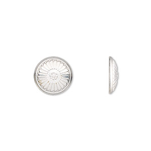 component, sterling silver, 11mm single-sided round concho with fancy design. sold individually.