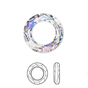 component, swarovski crystals, crystal ab, 20mm faceted cosmic ring fancy stone (4139). sold per pkg of 24.