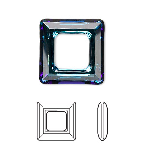 component, swarovski crystals, crystal bermuda blue, 20x20mm faceted square ring fancy stone (4439). sold per pkg of 24.