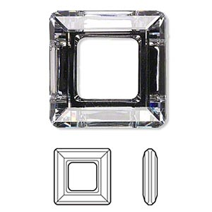 component, swarovski crystals, crystal cal v si, 30x30mm faceted square ring fancy stone (4439). sold per pkg of 12.