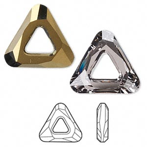 component, swarovski crystals, crystal dorado, 20x20x20mm faceted cosmic triangle fancy stone (4737). sold individually.