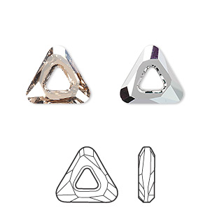 component, swarovski crystals, crystal golden shadow cal v si, 14x14x14mm faceted cosmic triangle fancy stone (4737). sold per pkg of 24.