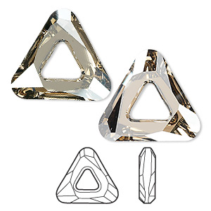 component, swarovski crystals, crystal golden shadow cal v si, 20x20x20mm faceted cosmic triangle fancy stone (4737). sold individually.
