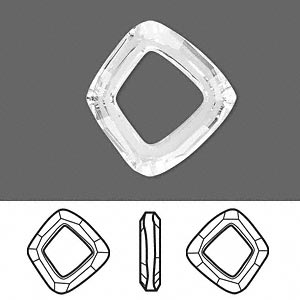 component, swarovski crystals, crystal passions, crystal clear, 22.5x20mm faceted cosmic square ring fancy stone (4437). sold individually.