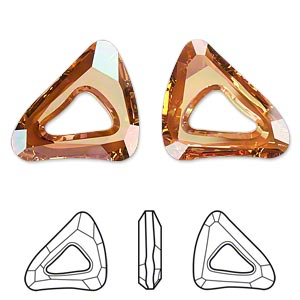 component, swarovski crystals, crystal passions, crystal copper, 23x20mm faceted organic cosmic triangle fancy stone (4736). sold per pkg of 6.