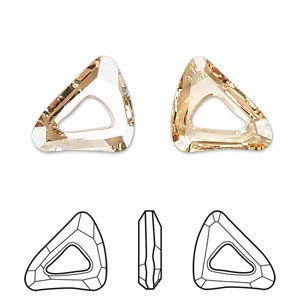 component, swarovski crystals, crystal passions, crystal golden shadow, 16x14mm faceted organic cosmic triangle fancy stone (4736). sold individually.