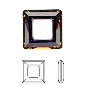 component, swarovski crystals, crystal passions, crystal volcano, 20x20mm faceted square ring fancy stone (4439). sold individually.