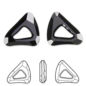 component, swarovski crystals, crystal passions, jet, 23x20mm faceted organic cosmic triangle fancy stone (4736). sold per pkg of 6.