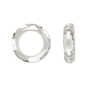 component, swarovski crystals, crystal silver shade, 20mm faceted cosmic ring fancy stone (4139). sold per pkg of 24.