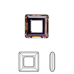 component, swarovski crystals, crystal volcano, 14x14mm faceted square ring fancy stone (4439). sold per pkg of 72.