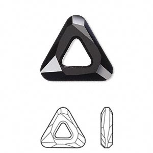 component, swarovski crystals, jet, 20x20x20mm faceted cosmic triangle fancy stone (4737). sold individually.