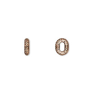 component, tierracast, antique copper-plated pewter (tin-based alloy), 8x6.5mm hammered oval ring with 4x2mm hole. sold per pkg of 2.