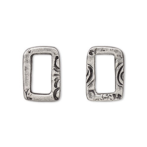 component, tierracast, antiqued pewter (tin-based alloy), 17x11mm open rectangle with jardin design and 11.5x5.5mm hole. sold per pkg of 2.