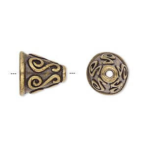 cone, antique brass-plated pewter (tin-based alloy), 14x13mm round with scroll design, fits 12-14mm bead. sold individually.