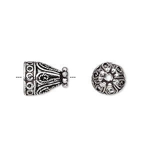 cone, antique silver-plated brass, 13x10mm filigree with swirl and circle design, 8mm inside diameter. sold per pkg of 6.