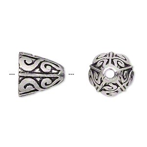 cone, antique silver-plated brass, 14x14mm scroll design, 10mm hole. sold per pkg of 2.