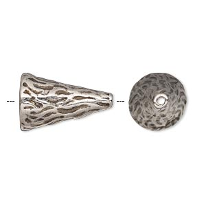 cone, antique silver-plated pewter (tin-based alloy), 19.5x12mm textured round with line design, fits 12-14mm bead. sold individually.