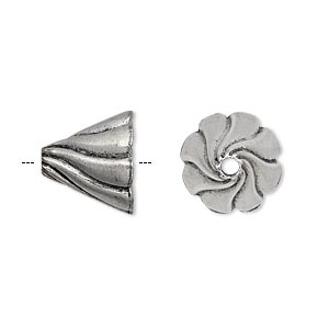 cone, antiqued pewter (tin-based alloy), 13x12mm with swirl design, fits 12-14mm bead. sold per pkg of 2.