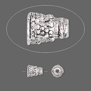 cone, antiqued pewter (zinc-based alloy), 7x5mm with pattern, fits 4mm bead. sold per pkg of 24.