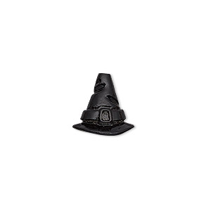 cone, enamel and pewter (tin-based alloy), black, 13x12.5mm witchs hat, 7mm inside diameter. sold individually.