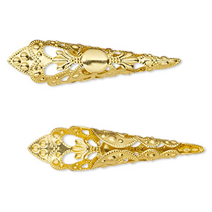 cone, gold-finished aluminum, 50x12mm filigree with 8mm inside diameter. sold per pkg of 25.