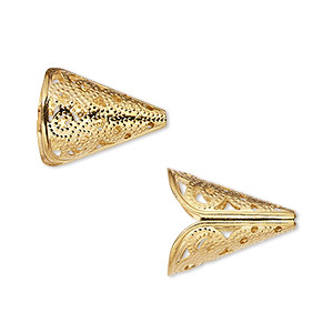 cone, gold-finished brass, 17x14mm filigree with 11mm inside diameter. sold per pkg of 12.