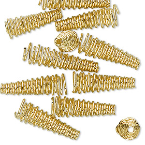 cone, gold-finished brass, 19x6mm-23x6mm spiral, 2.5mm inside diameter. sold per pkg of 12.